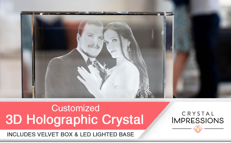 customized crystal rectangle cube personalized 3d photo engraved picture glass custom decor
