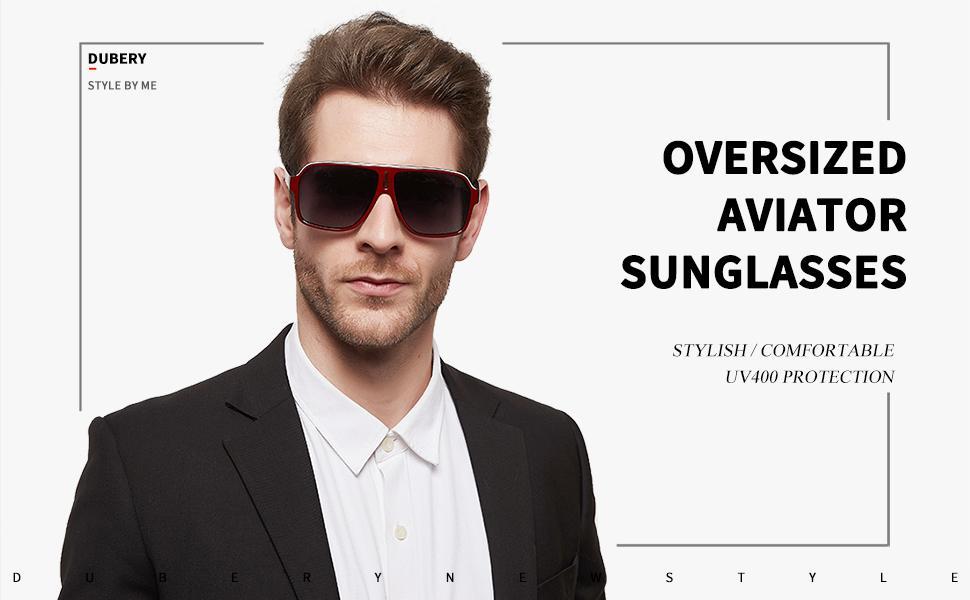 DUBERY Mens Oversized Aviator Sunglasses D103