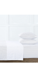 Grey Fresh Protect Silver-Infused Clark Stripe Cotton 4-Piece Sheet Set