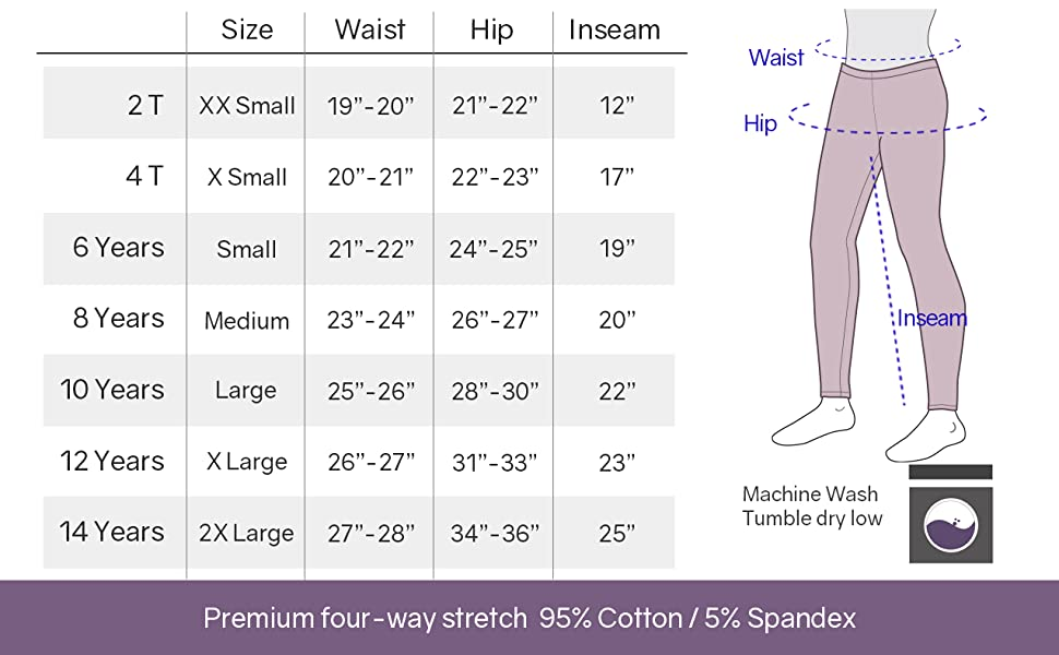 Size Chart of Youth Cotton Footless Leggings