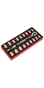 21pc SAE/MM 3/8amp;#34; Dr. 90T Ratchet amp;amp; Socket Set