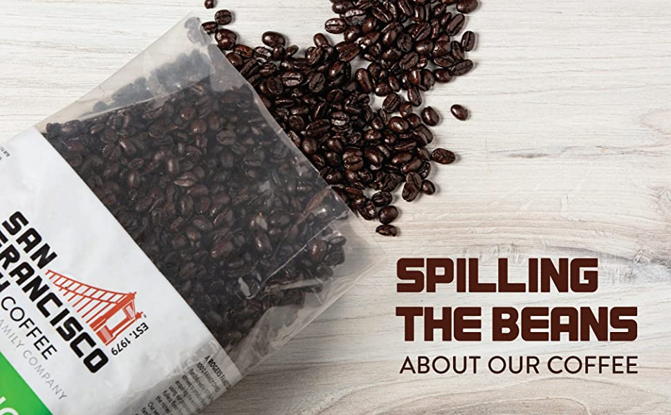 Whole beans spilling out of Coffee Bag. Spilling the beans about our coffee.