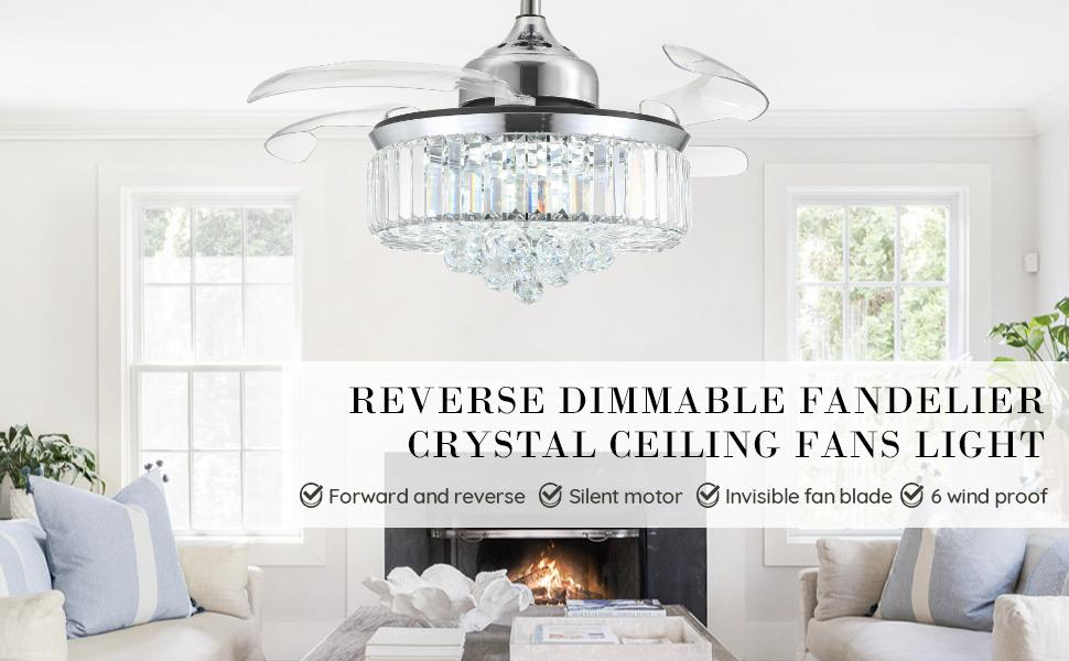 Reverse Dimmable Fandelier Crystal Ceiling Fans with Light