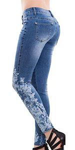 PAODIKUAI Womenamp;#39;s Patchwork Jeans Mid Rise Floral Embroidered Shaping Jeans