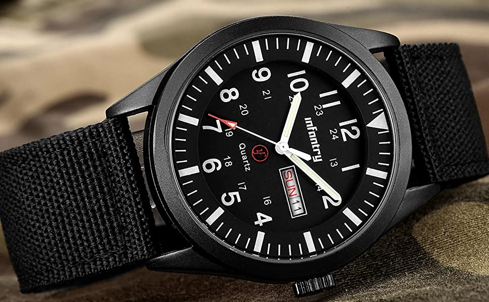 Mens Military Watch Quartz Analogue Black Waterproof Wrist Watches for Men Army Tactical Field Work