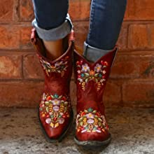 red ankle boots
