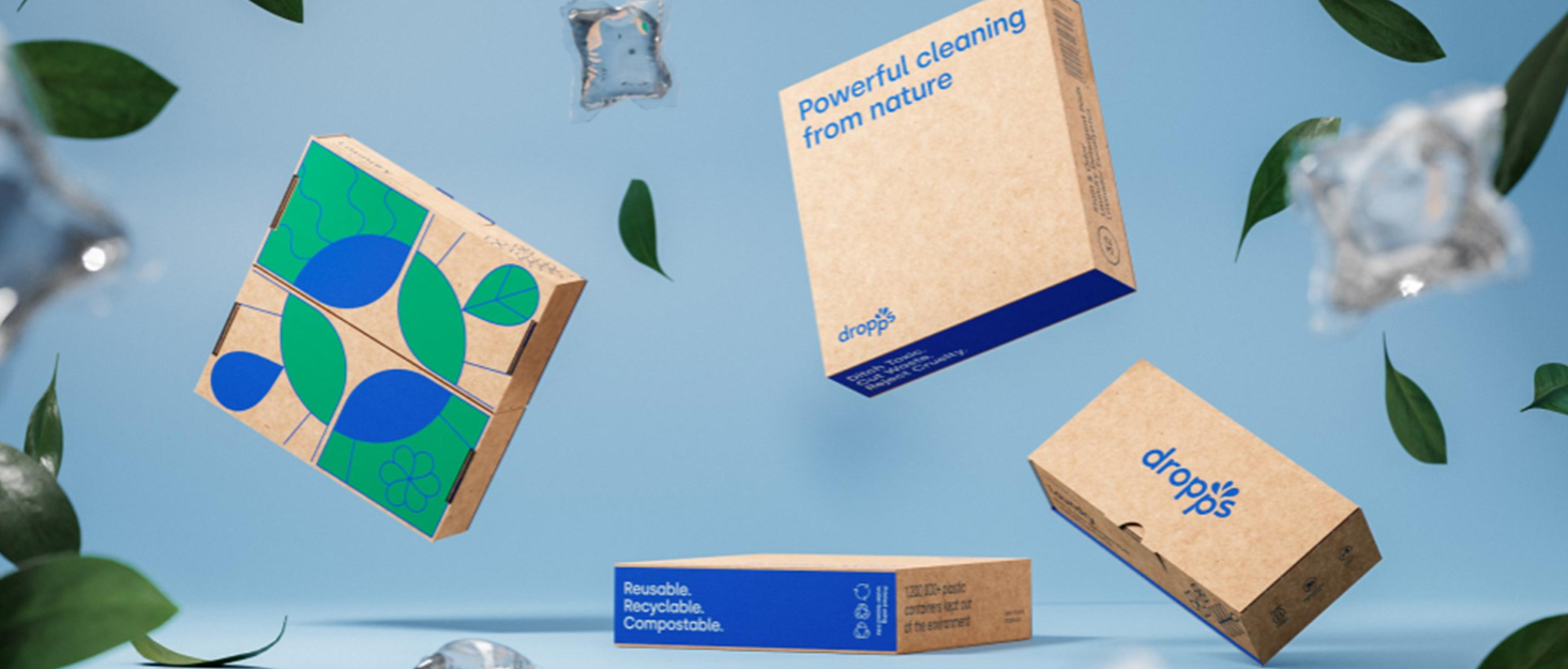 Dropps: Powerful Cleaning from Nature - featuring cardboard box packaging