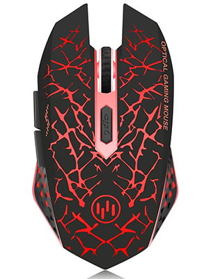 Red wireless gaming mouse describtion