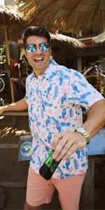 Men's Bright Hawaiian Shirts for Spring Break and Summer - Horizontal Stretch Aloha Shirt for Guys