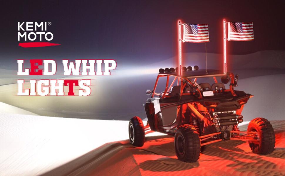 Kemimoto LED Whip Lights for UTV ATV