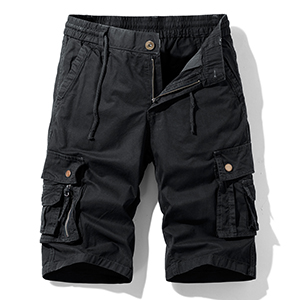 Hot island Men's Relaxed Fit Multi Pockets Big and Tall Size Outdoor Cargo Shorts Black