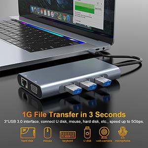 3 USB 3.0 Hub USB C
