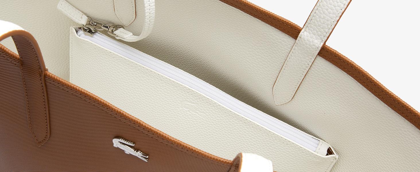 Bolso con asas de piel Lacoste marrón y blanco