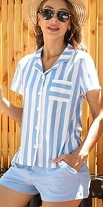 Camicia a Righe e Pantaloncini con Coulisse Elastica Camicia e pantaloncini da donna in due pezzi