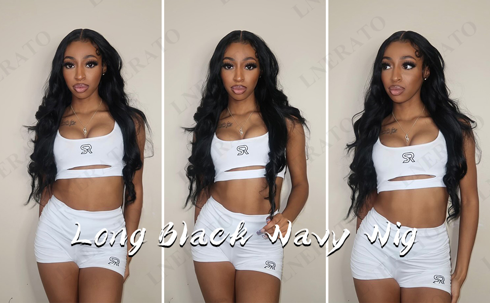 long wavy wig with middle part