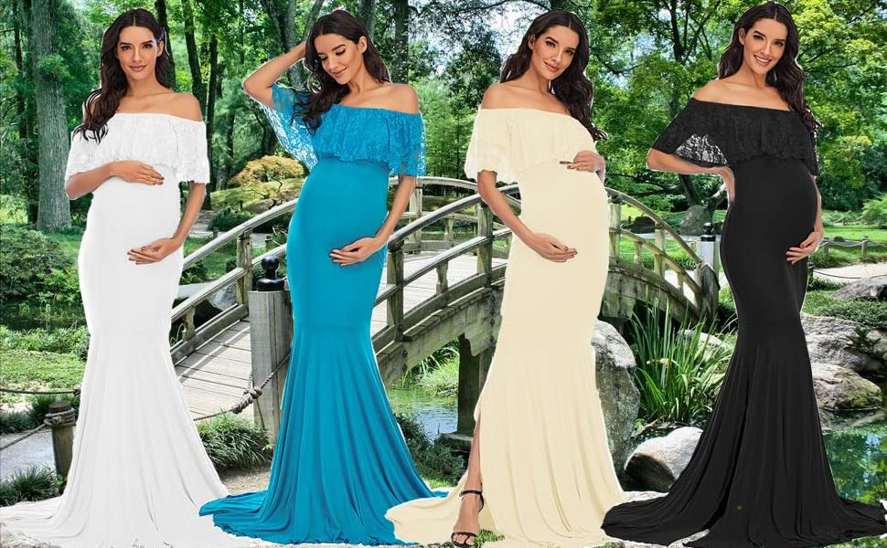 maternity lace ruffled sleeve mermaid photography gown
