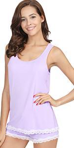 womens tank top pajamas bamboo viscose sleepwear shorts pjs set soft sleeveless loungewear nightwear