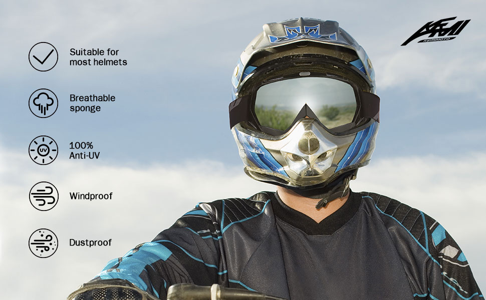 The picture shows a man riding a black-framed silver-lens off-road vehicle goggles