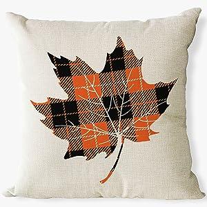 Maple leaf buffalo plaid fall pillow covers