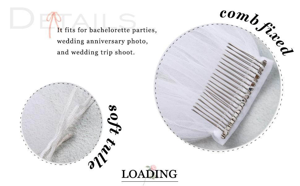 Wedding veil with comb for women and girls