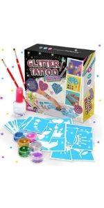glitter tattoo studio tatuajes kit set regalo niñas regalos purpurina manualidades infantiles