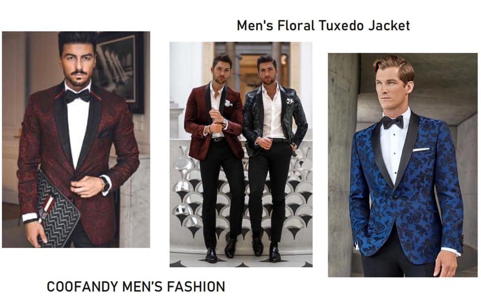 COOFANDY Floral Tuxedo Jacket