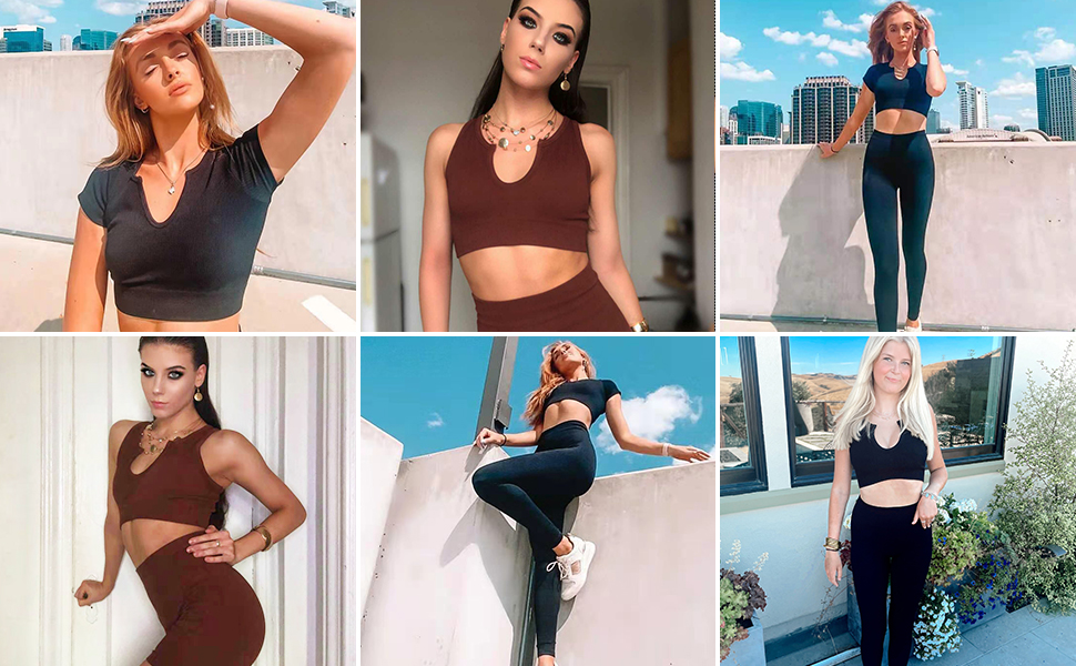 ribbed cropped tank top workout ribbed leggings women high waistgym outfit for women gym short women