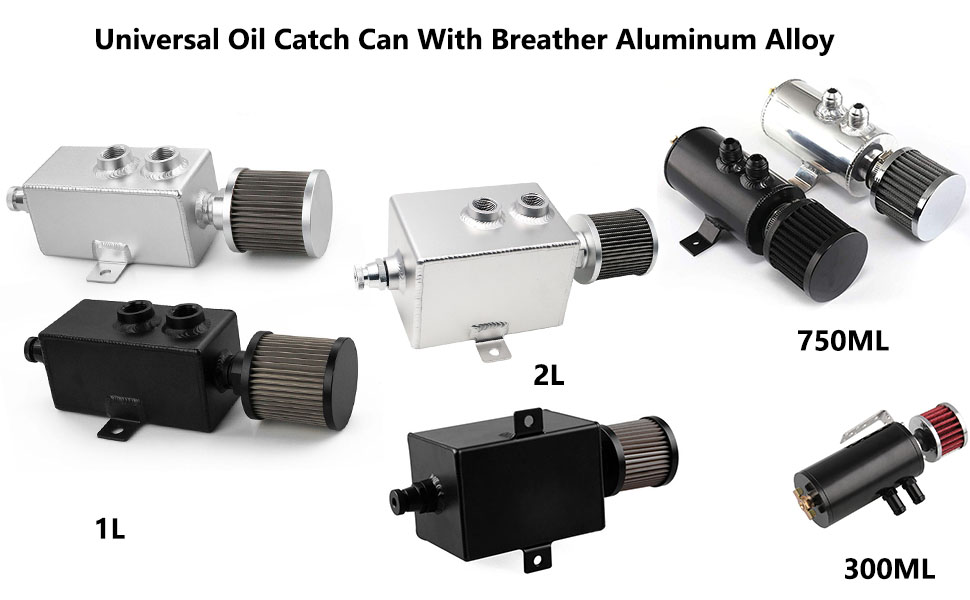 Top10 Racing Oil Catch Can Tank 10AN with Breather Drain Tap Baffled Reservoir Tank Aluminum Black