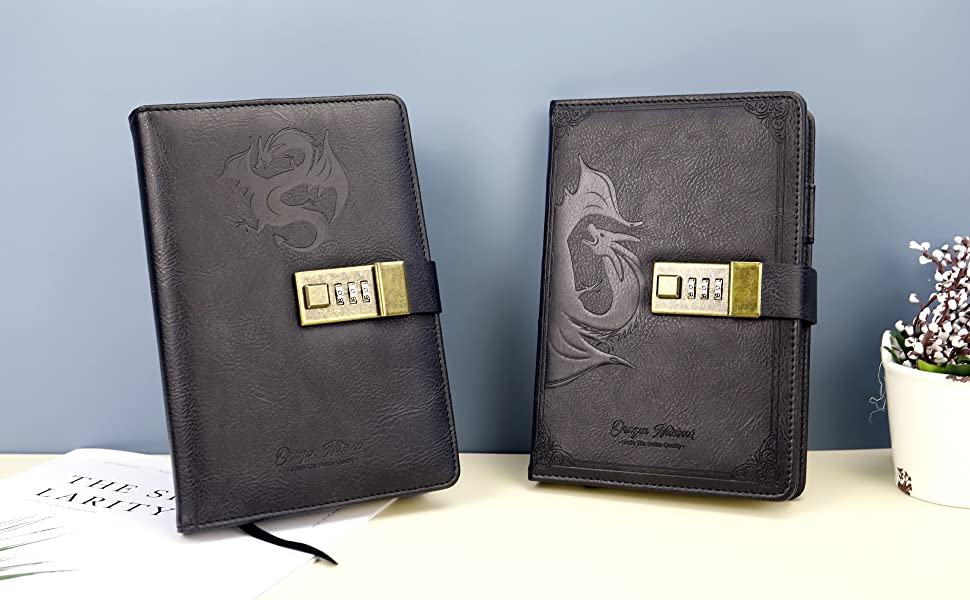 Dragon Leather Journal Hardcover Notebook Locked Refillable Diary main