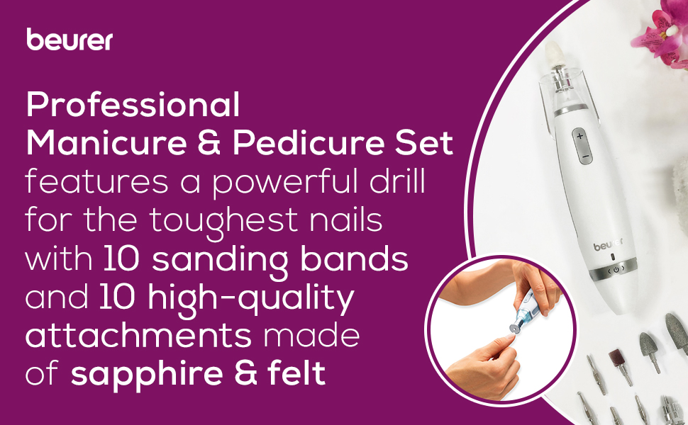 Professional Manicure Pedicure, powerful drill, though nails, sanding bands, sapphire