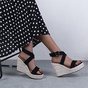 Women Sexy Cross Ankle Strappy Espadrille Wedge Platform Sandals