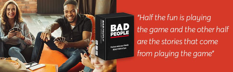 People playing Bad People party game
