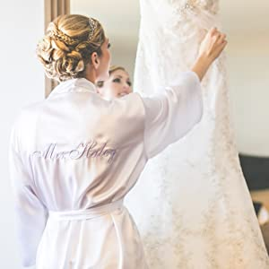 Personalized Bridal Robe, White Bride Robe, Wedding Day Robe, Honeymoon Lingerie