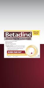 Betadine Anaesthetic Lozenges;  Honey & Lemon lozenges; Berry lozenges; 16-pack, 36-pack