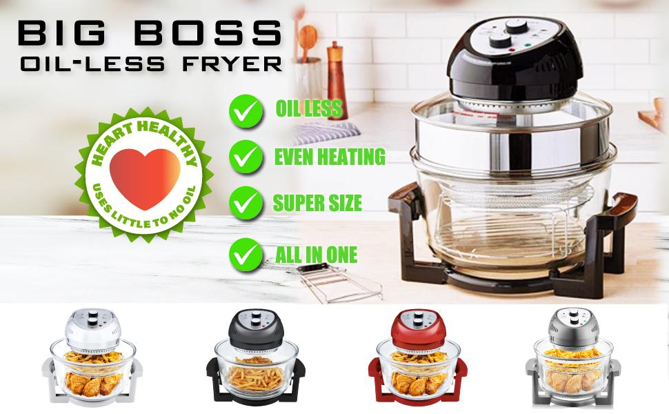 BIG BOSS FRYER, LARGE AIR FRYER, HEART HEALTHY, USE LITTLE OR NO OIL, LESS OIL, HEALTHY FRYING