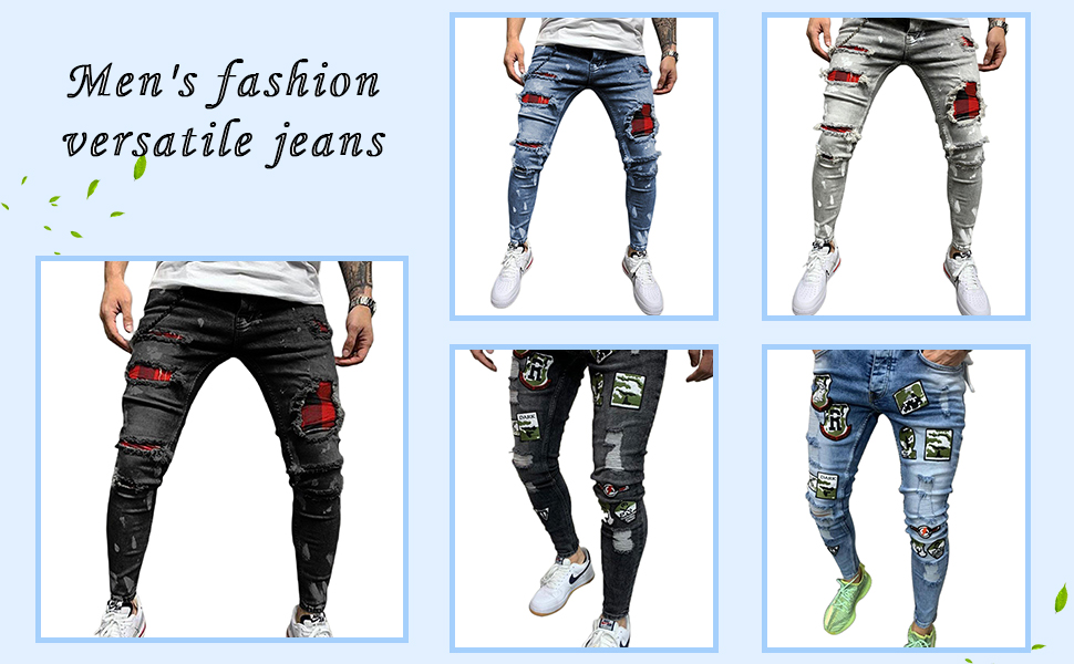 Men's Zipper Washed Fit Jeans