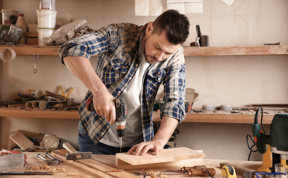 Man completing a woodworking project with Forest 2 Home lumber
