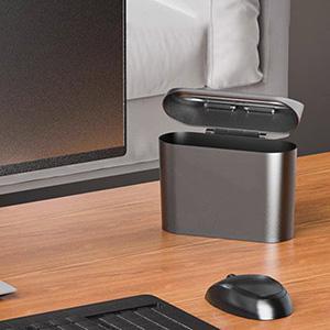 mini trash can on desk