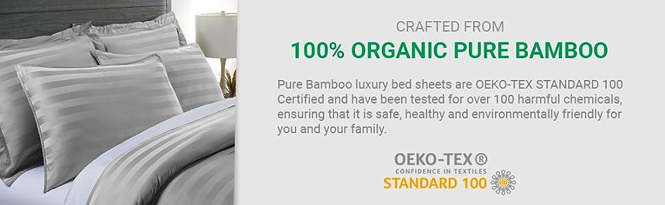 Pure Bamboo Duvet Cover Set - 100% Organic Bamboo OEKO-TEX STANDARD 100 Organic Certified