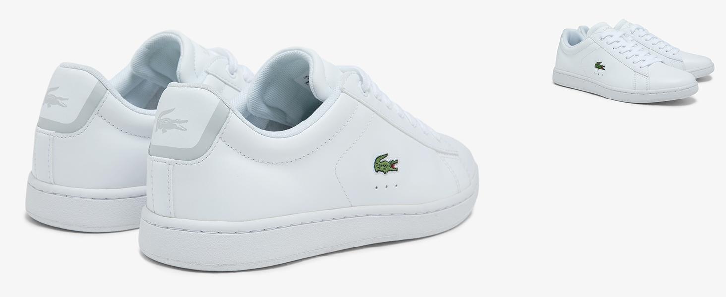Sneakers en cuir blanc avec crocodile vert Lacoste