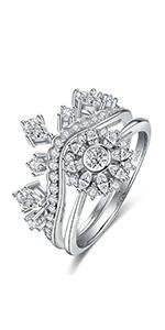 Princess Crown Cubic Zirconia Wedding Promise Rings Set