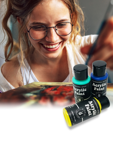 Happy Hippie Crafter girl painting with acrylic paints