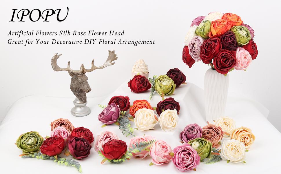 Silk Roses Heads for silk flower arrangements
