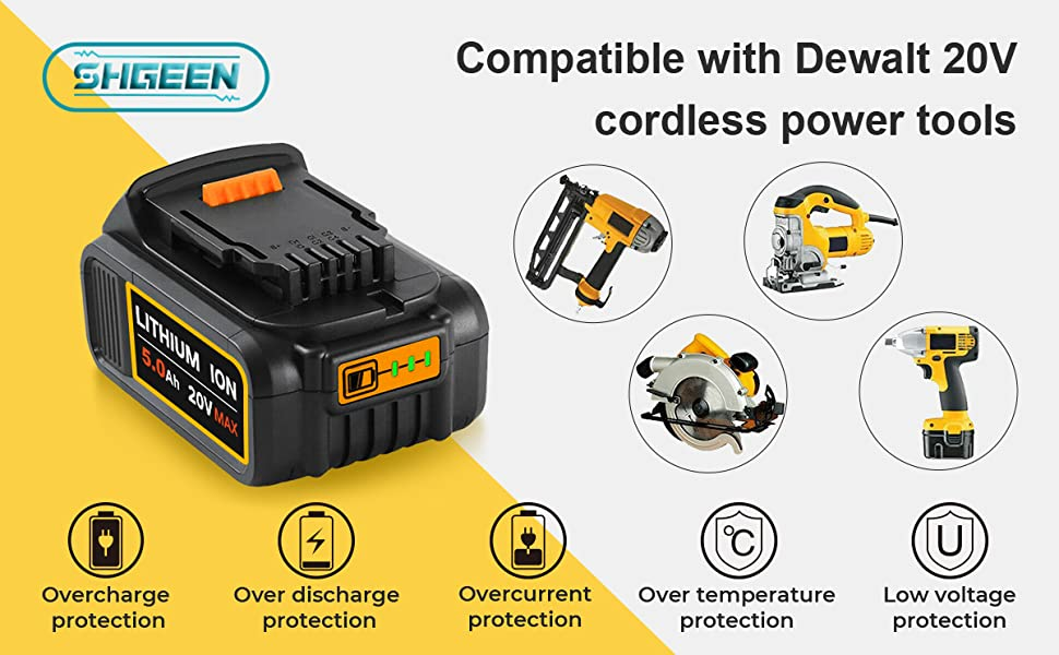 5.0Ah DCB205 Battery Compatible with Dewalt 20v cordless power tools