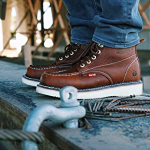 Cactus workboot, brown leather lace up for construction.