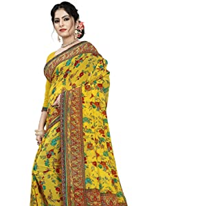Women's Woven Georgette Printed Saree with Blouse Piece