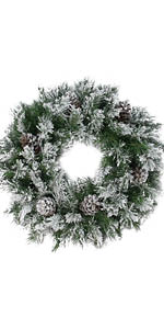 """24"""" Green and Brown Flocked Angel Pine with Pine Cones Artificial Christmas Wreath - Unlit"""
