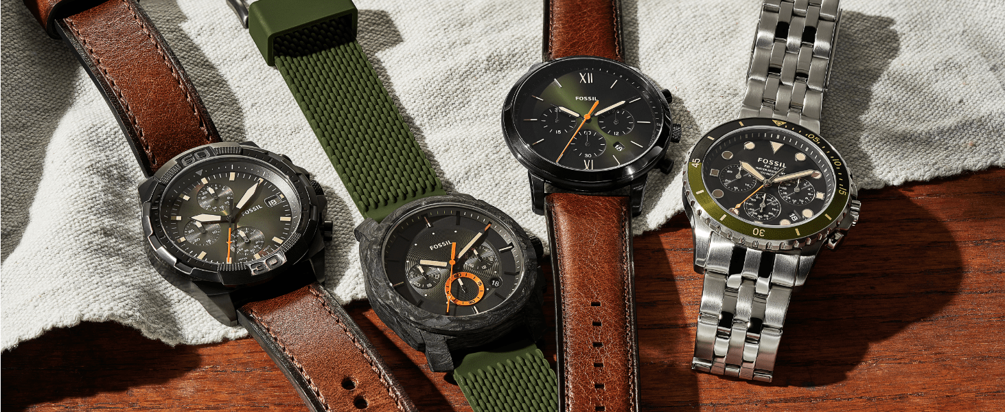 Four watches Brown Leather, Green Silicone Watch, Chronograph watch, silver stainless steel watch