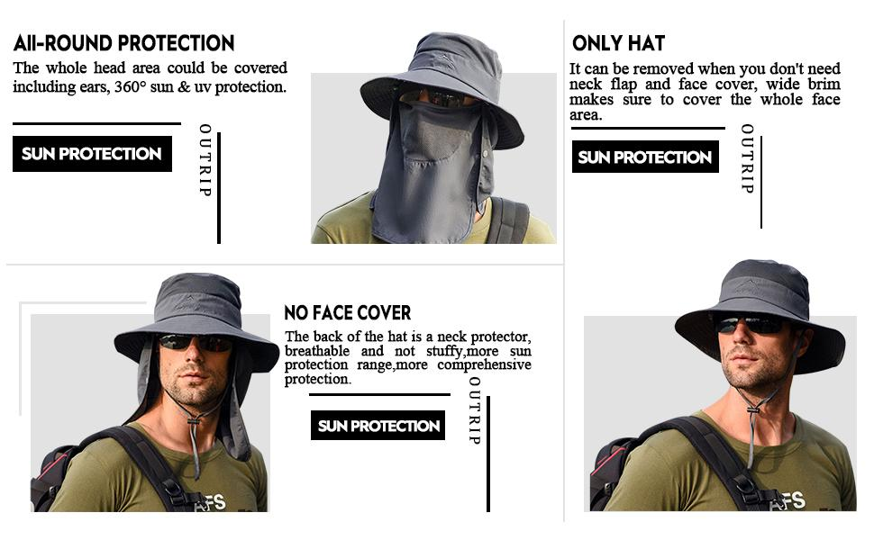 The whole head area could be covered including ears, 360° sun & uv protection