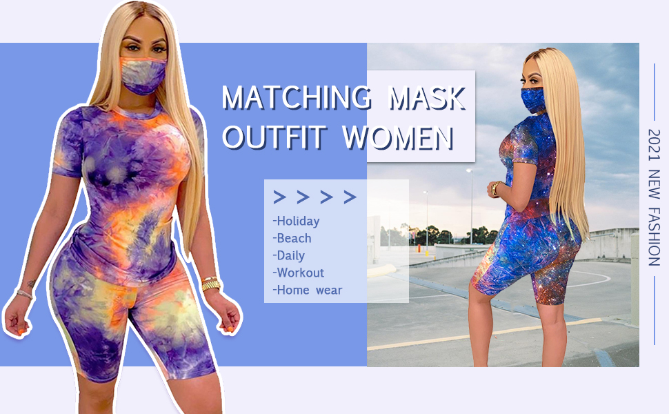 Alunzoem Biker Shorts Sets for Women, Track Suits Outfits Tie Dye Short Sleeve Shirt and Shorts Set